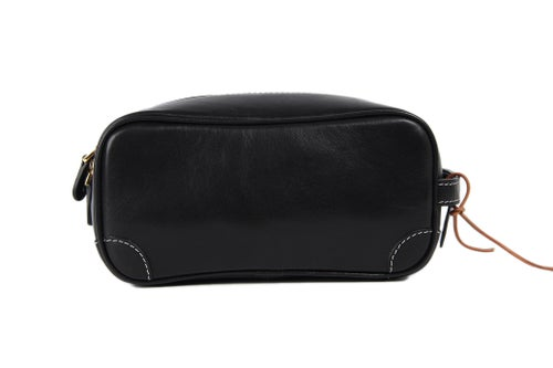 Image of Handmade Italian Full Grain Vegetable Tanned Leather Pouch Bag Clutch Bag Toiletry Bag PB01