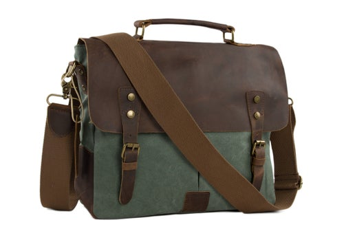 Image of Canvas Leather Bag Briefcase Messenger Bag Shoulder Bag Laptop Bag 1807