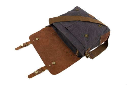 Image of Handmade Canvas Leather Bag Briefcase Messenger Bag Shoulder Bag Laptop Bag 1807