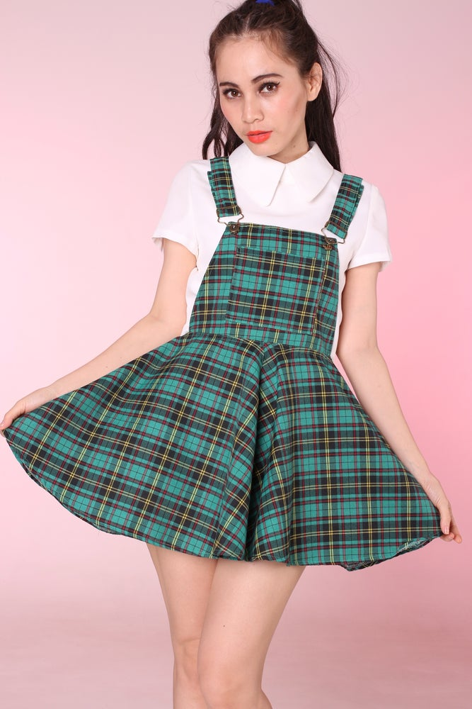 Image of PRE ORDER - Green Tartan Pinafore