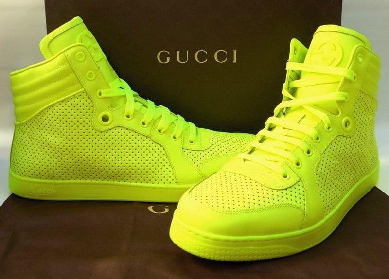 4b1f976d121 Image of Gucci coda neon yellow leather sneaker