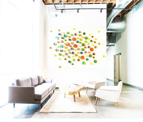 Admirable Sunshine In Color Wood Wall Sculpture Circle Wood Wall Art Abstract Painted Wall Sculpture Home Interior And Landscaping Staixmapetitesourisinfo