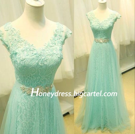 Image of Mint Lace V Neck Tulle A Line Cap Sleeves Long Prom Dress With Beading Waistband