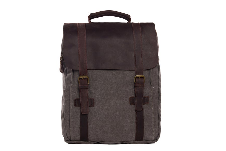 Image of Moshi Hot Sale Canvas Leather Backpack, Waxed Canvas Backpack School Backpack 1820