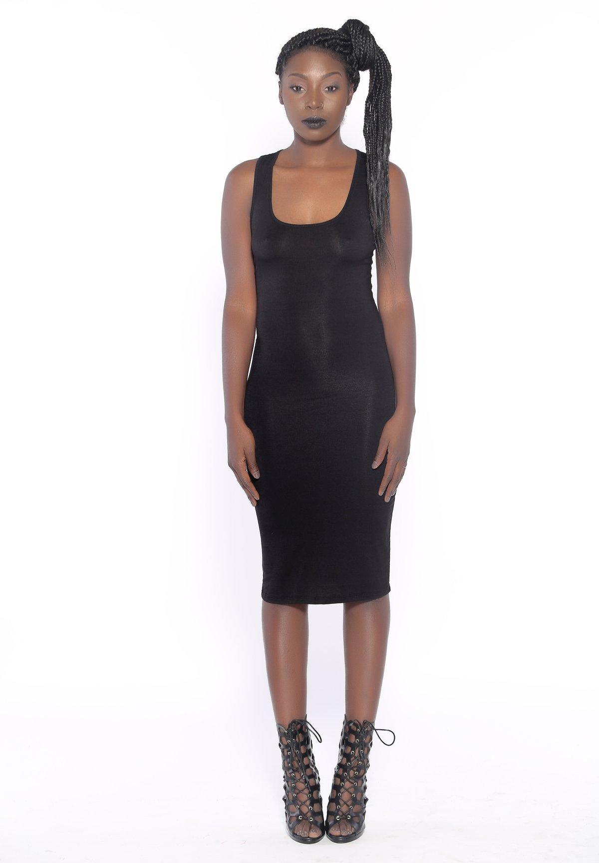 Image of Barely Basic Racerback Midi Dress (Black)