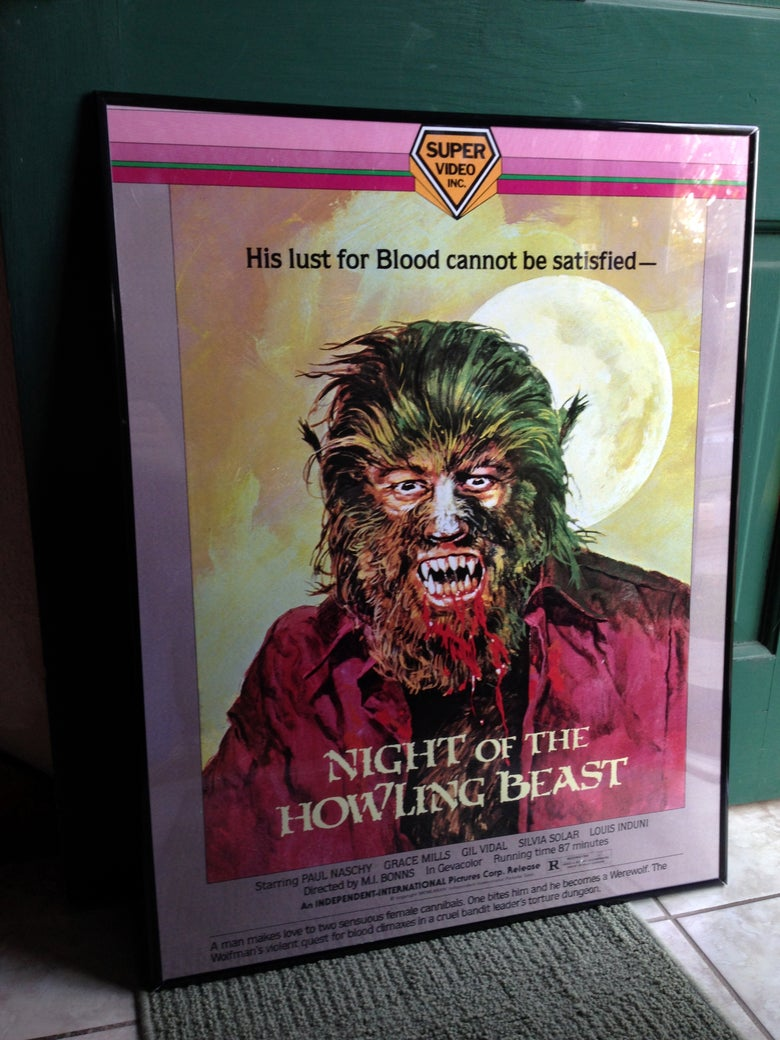 "Image of 1975 NIGHT OF THE HOWLING BEAST Super Video box art Poster VHS 24 x 36"" Painted by BASIL GOGOS!"