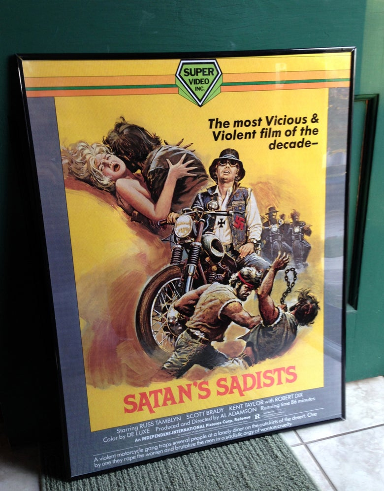 "Image of 1969 SATAN'S SADISTS Super Video VHS Box Art Poster 24 x 36"" AL ADAMSON"