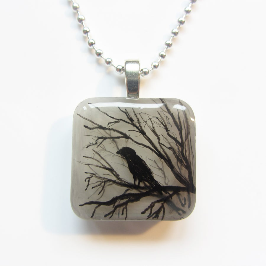 Image of Raven on Tree Resin Pendant