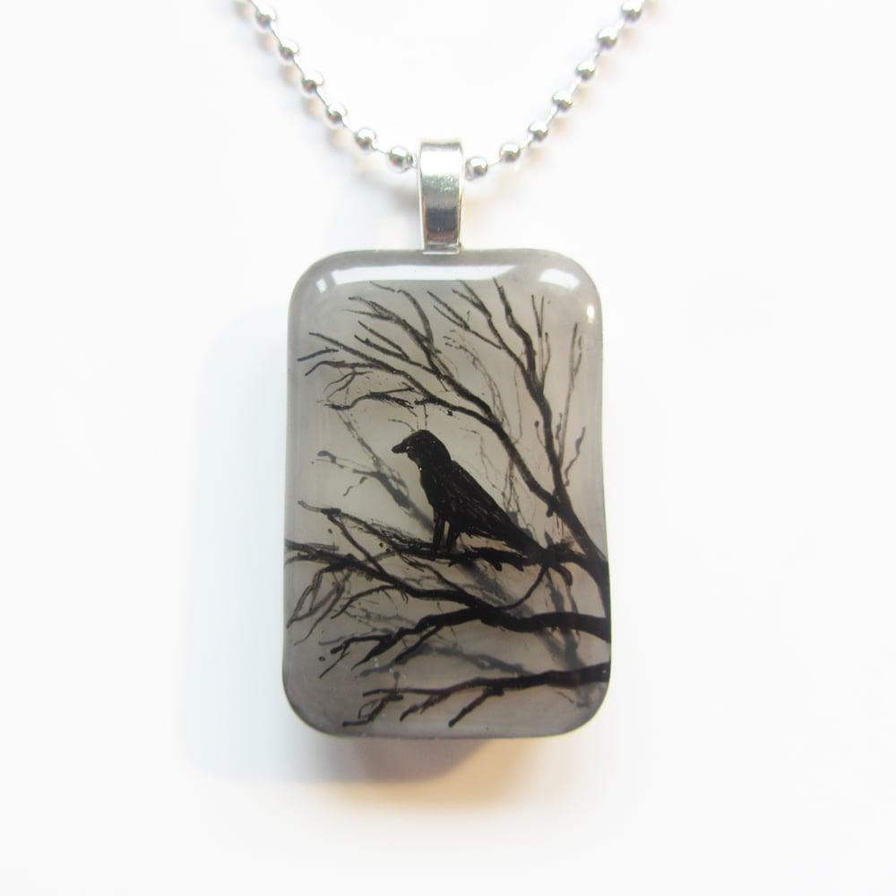 Raven on Tree Resin Pendant