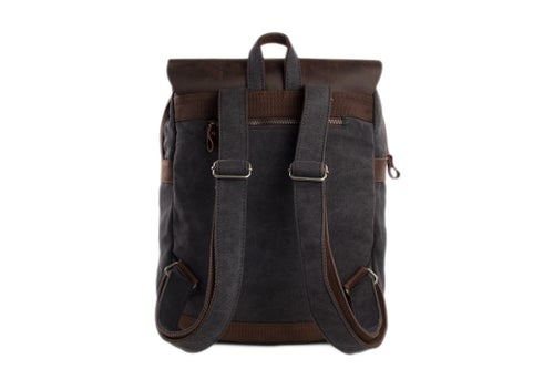 Image of 14'' Canvas Leather Backpack Rucksack School Backpack Casual Backpack 12032