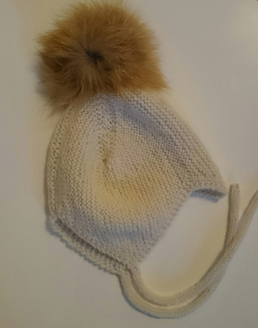 Image of Nordic Baby hat - fur pompom