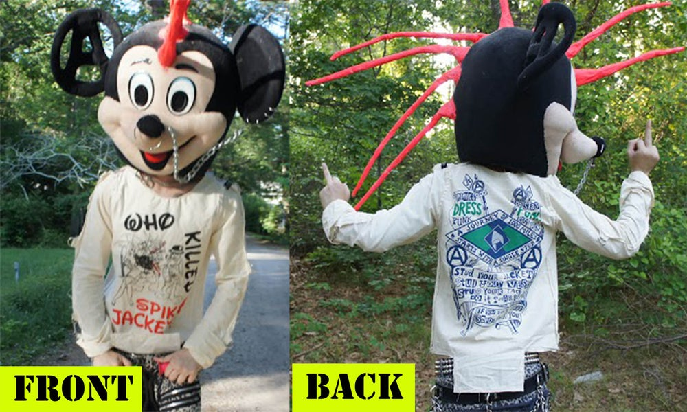 Image of Front & Back Who Killed Spikey Jacket? size Small bondage shirt 1 OF A KIND