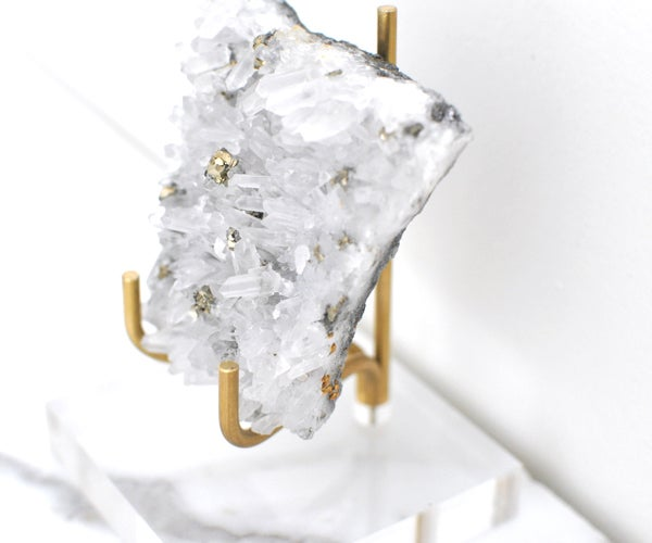 Image of Lucite Base and Brass Stand Mineral Holder-3 size options