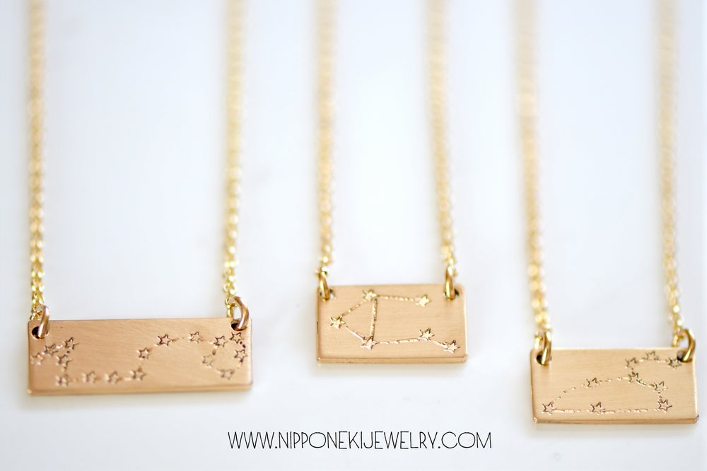 Image of Constellation Bar Necklace - Constellation Jewelry - Astrology Jewelry - Star Sign Necklace