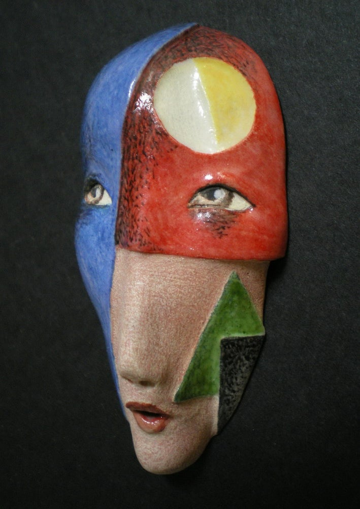 Image of A Modern Woman - Porcelain Mask Sculpture, Ceramic Face Pendant, Original Mask Art