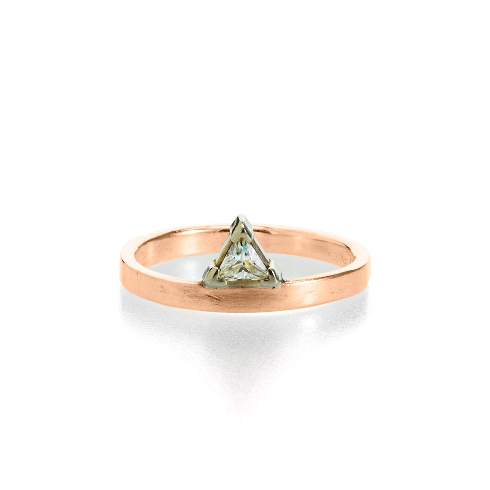 Image of triangle moissanite rose gold engagement ring . R-1