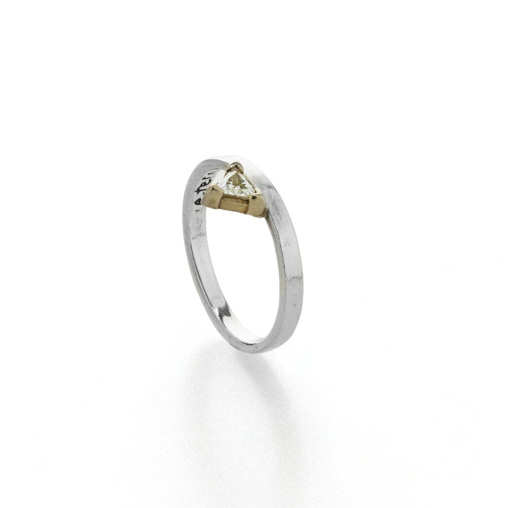 Image of triangle moissanite yellow gold engagement ring . R-1