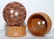 Image of Wood Flesh Plugs - Carved Honeycomb & Bee