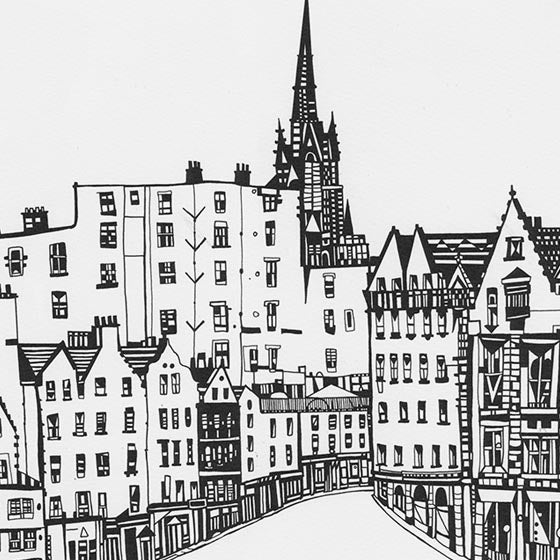 Image of Victoria Street (from the Grassmarket) screen print