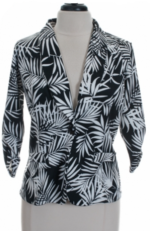 Image of Black and White Leaf Print Blazer
