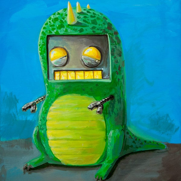 Robot in a dino suit  - Matt Q. Spangler Illustration