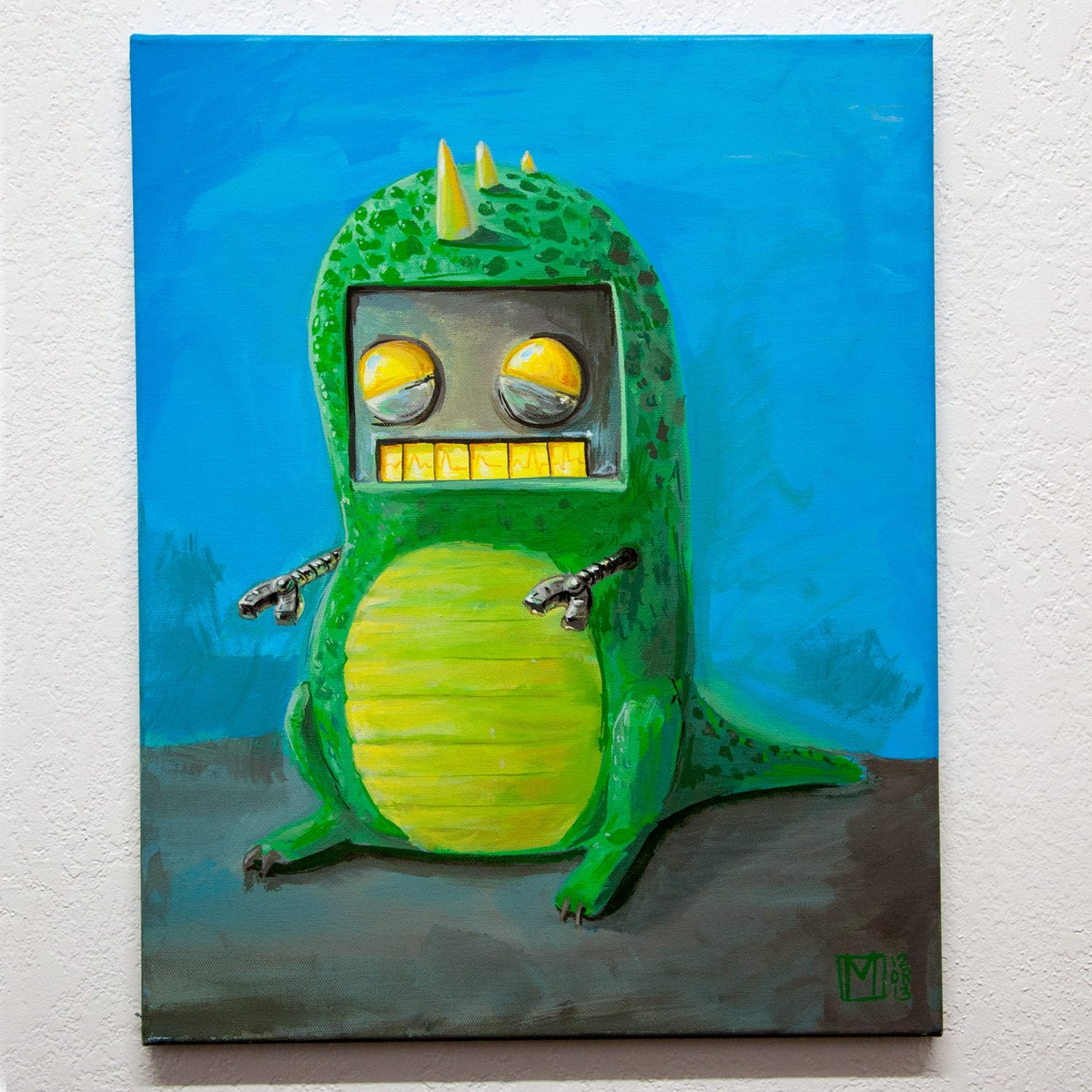 Image of Robot in a dino suit