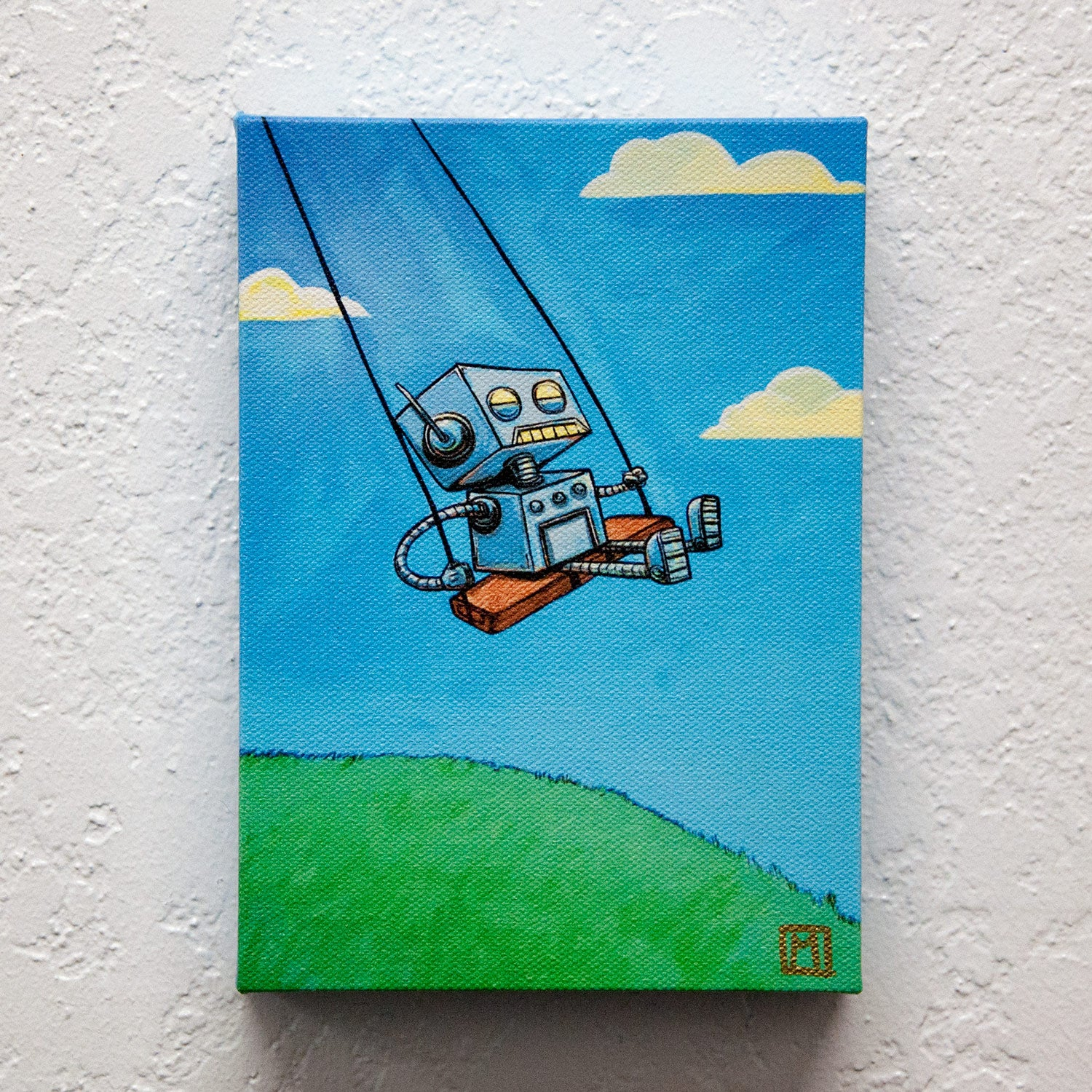 Image of Robot on a Swing Print!