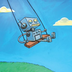 Robot on a Swing Print! - Matt Q. Spangler Illustration