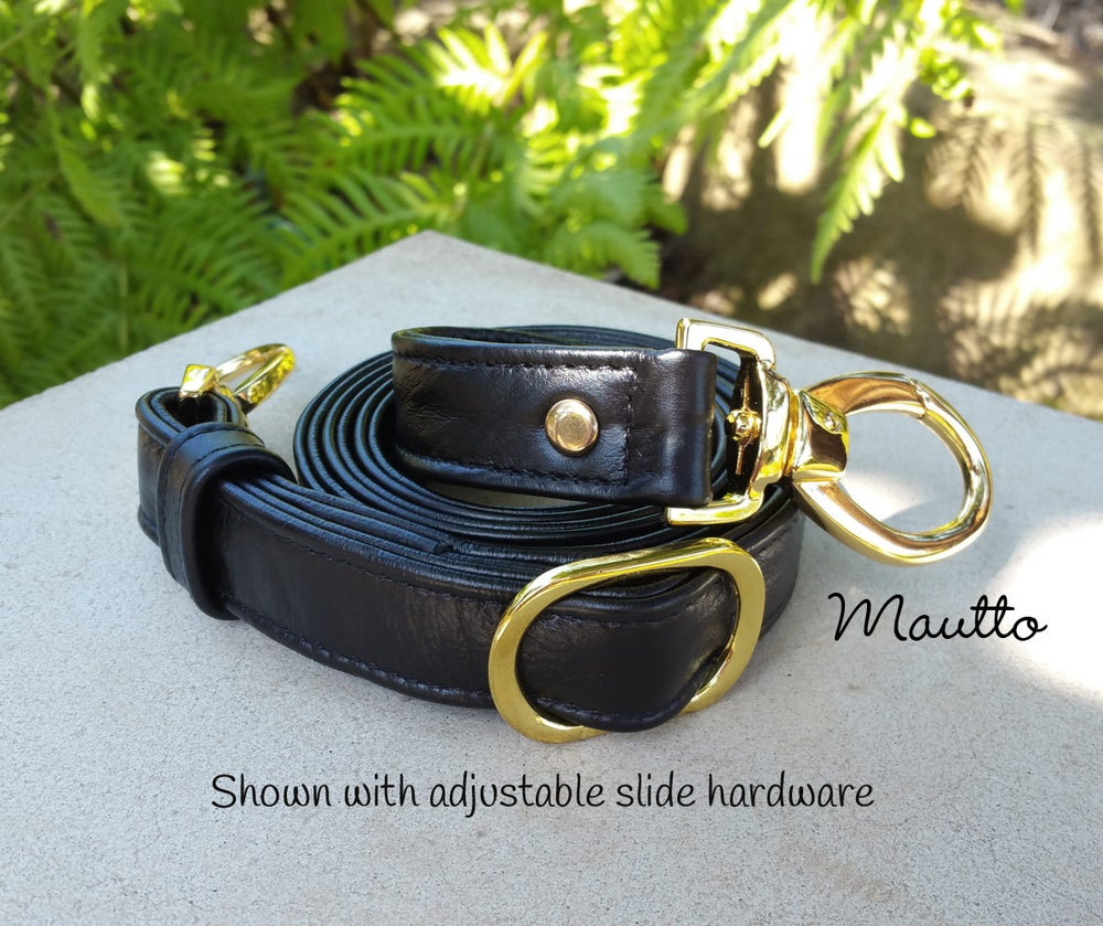 """Image of Black Leather Strap 1"""" (inch) Wide - Low Pebble Black Leather - Your Choice of Length & Hardware #2"""
