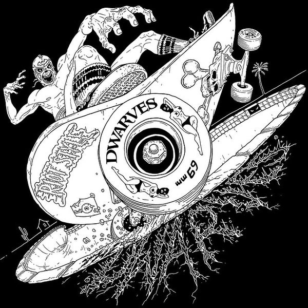 Image of The Dwarves - Radio Free Dwarves Skate Luchador T-Shirt (Discharge / Black)