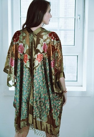 Image of Embellished Peacock Kimono - Olive Green
