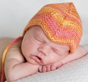 Image of CUSTOM ORDER: newborn silk pilot cap in SUNSET ORANGE