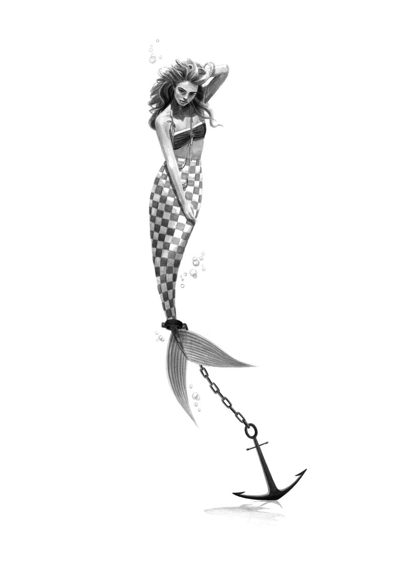 Image of Anchored Mermaid (Checkers)