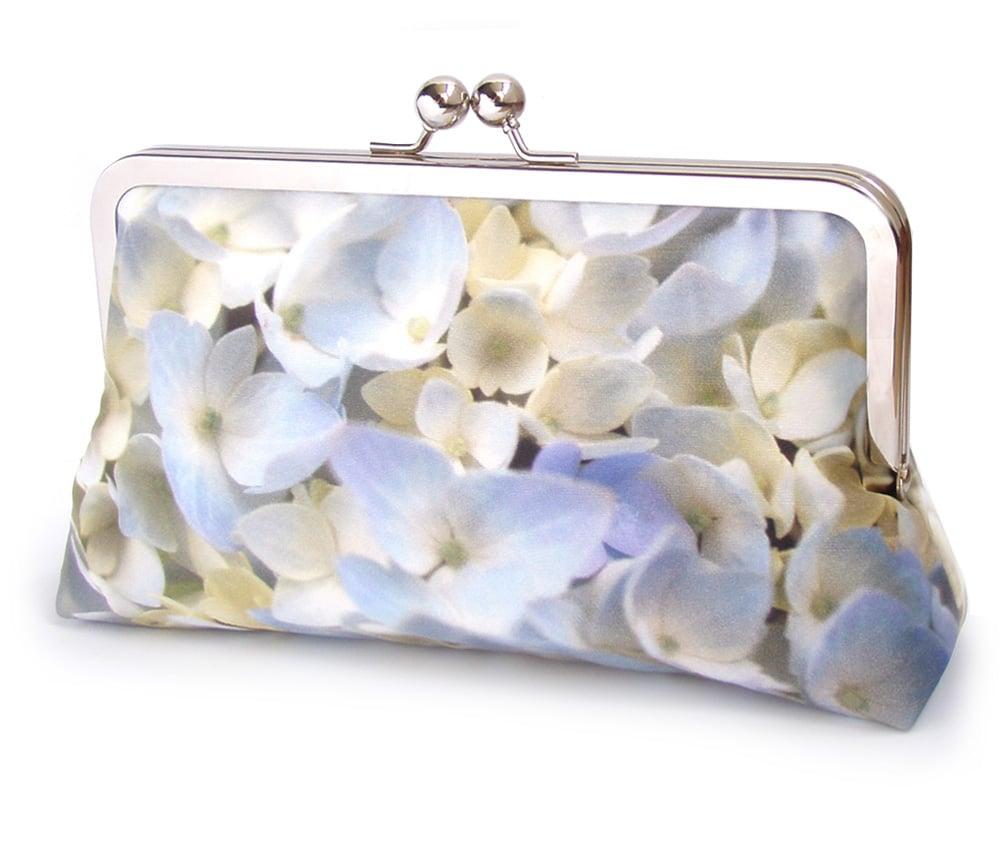 Image of Hydrangea petals clutch bag, pure silk, floral wedding clutch purse, something blue