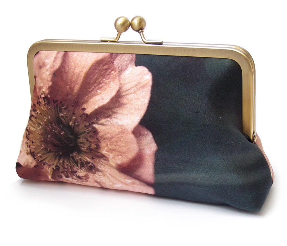 Image of Coral poppy flower clutch purse bag, silk bag