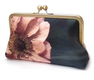 Coral orange poppy clutch purse bag, silk purse, bridesmaid clutch, summer flower petals - Red Ruby Rose