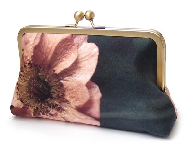 Image of Coral poppy flower clutch purse bag, silk bag