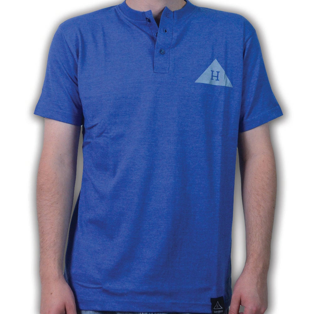 Image of Solid Logo Henley in Blue