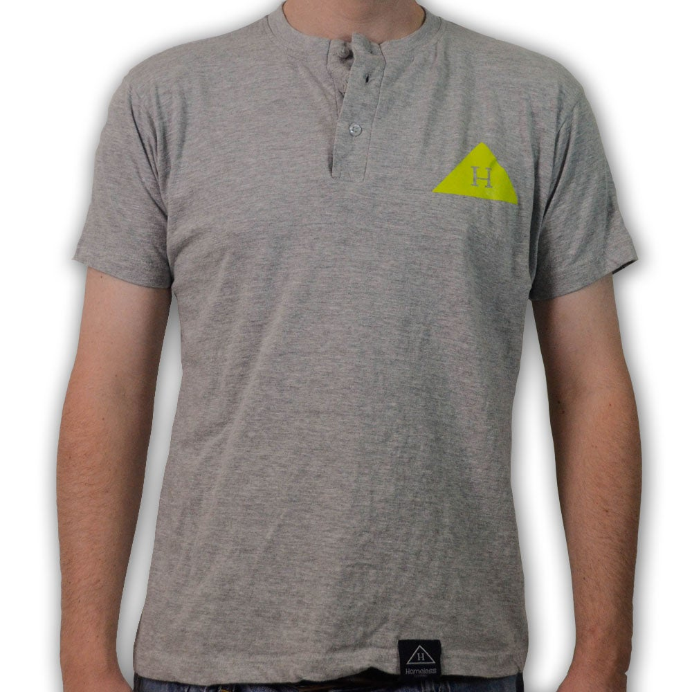 Image of Solid Logo Henley in Light Grey