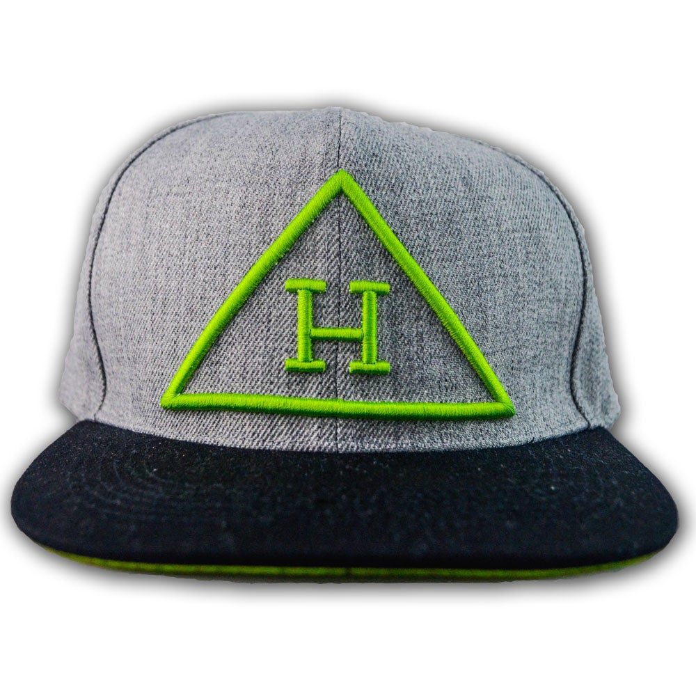 Image of Logo Snapback in Gray/Black/Lime Green