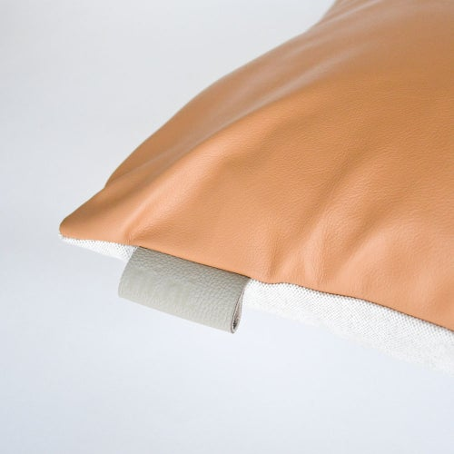 Image of Leather Tab Cushion Cover - Tan Square