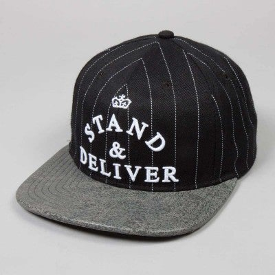 Image of King Apparel - Stand & Deliver 6 Panel Snapback Cap - Black Pinstripe / Dark Cement