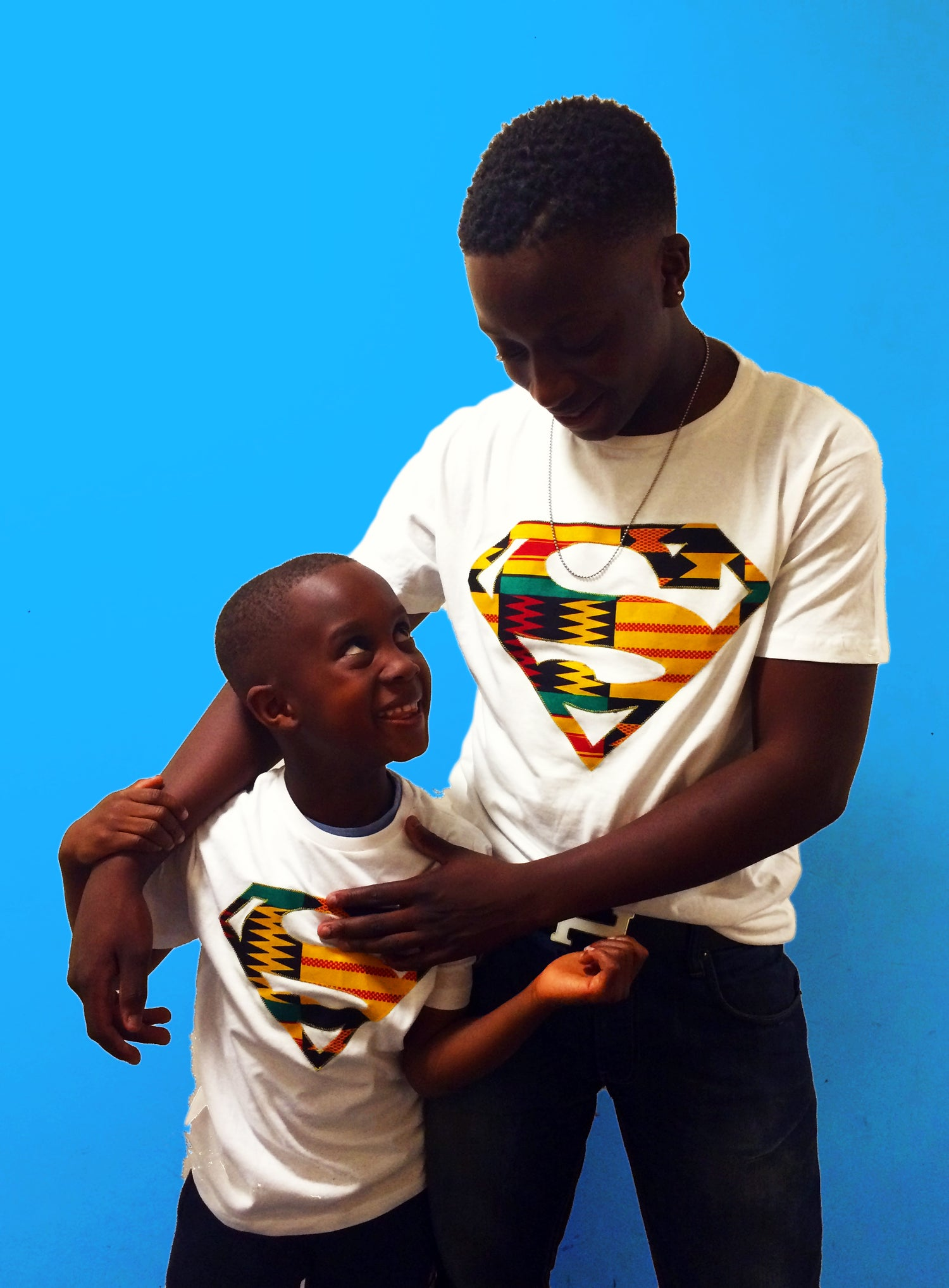 Image of Afro Superman Men's Tee shirt with Kente hand crafted applique