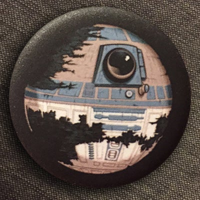 "Image of DeathstaR2-D2 - 1.25"" Pin-back Buttons (available in matte and gloss finish)"