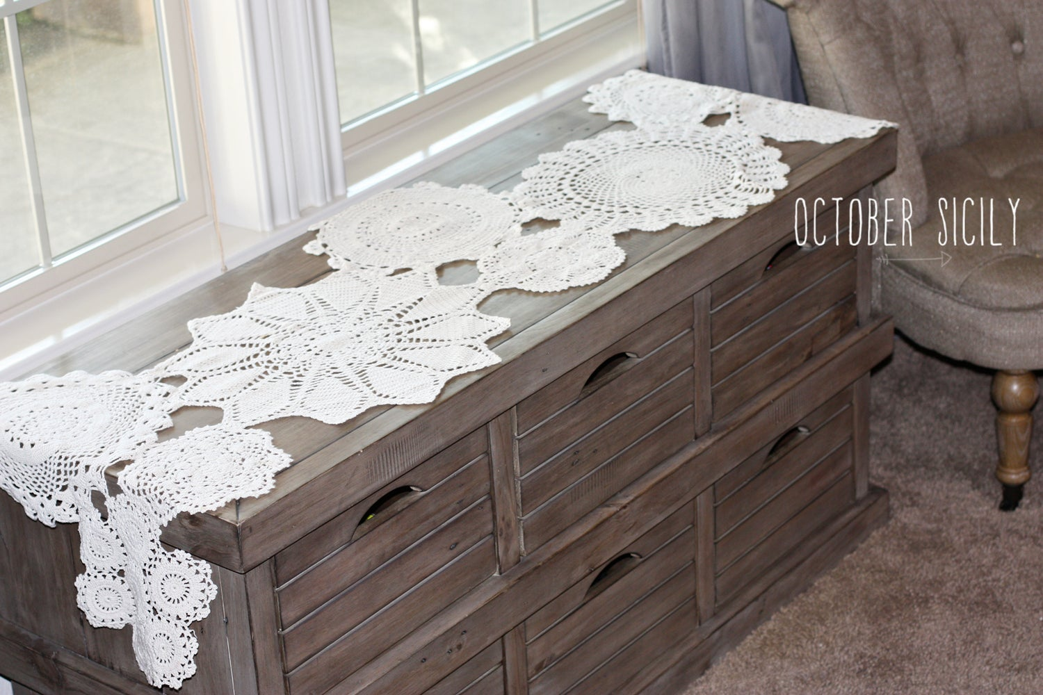 Image of  Beautiful Handmade Crochet Doily Table Runner