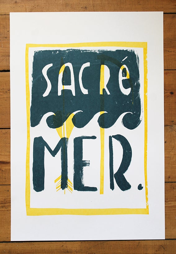 Image of Sacré Mer two colour screenprint