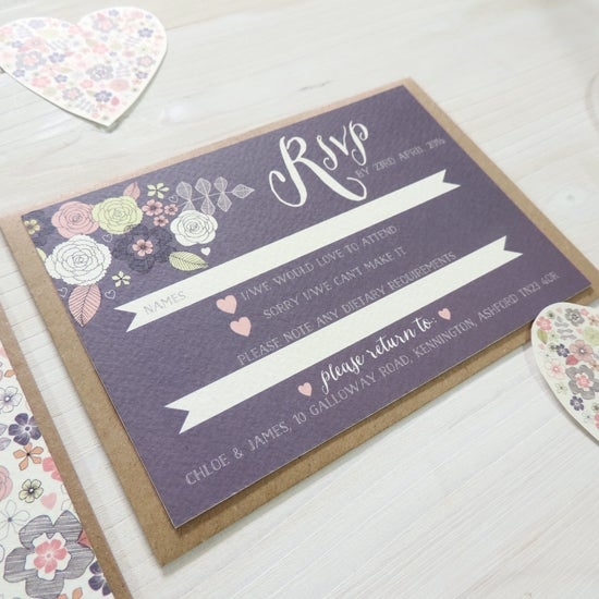 Image of Love Heart Bespoke Wedding Invitation and RSVP Personalised Bundle