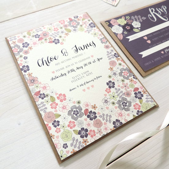 Image of Love Heart Bespoke Wedding Invitation and RSVP