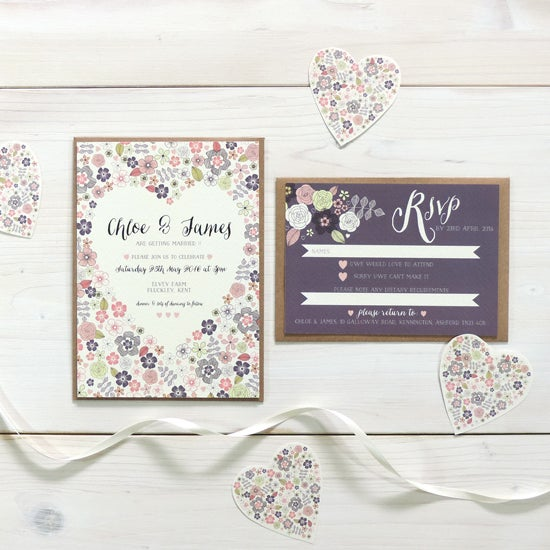 Image of Love Heart Bespoke Wedding Invitation and RSVP Bundle