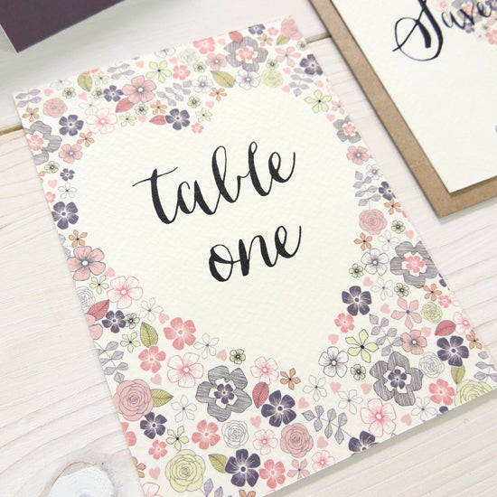 Image of Love Heart Table Number